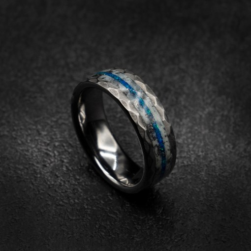Unique Meteorite Ring With Royal Blue Opal | Tungsten Ring | Decazi