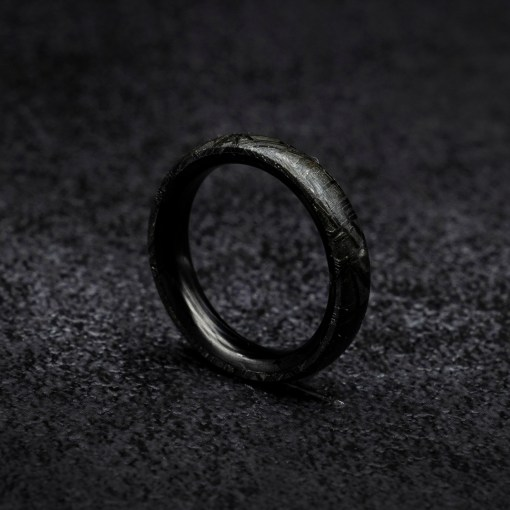meteorite ring with carbon fiber liner