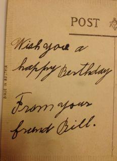 My grandfather's birthday greeting to my grandmother