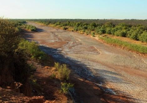 Brazos river runs dry in Knox County, Texas during the summer drought of 2011. Courtesy of TPWD.