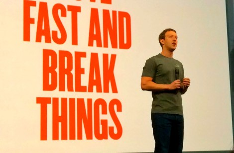 """Move fast and break things"" Facebook CEO Mark Zuckerberg onstage at the F8 conference 2014. The new motto: ""Move fast with stable infrastructure."" Image: Wikimedia"