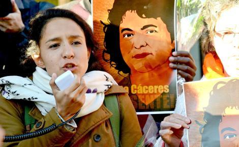 Berta Zúñiga Cáceres, daughter of Berta Cáceres, speaks at a demonstration in Washington, D.C.