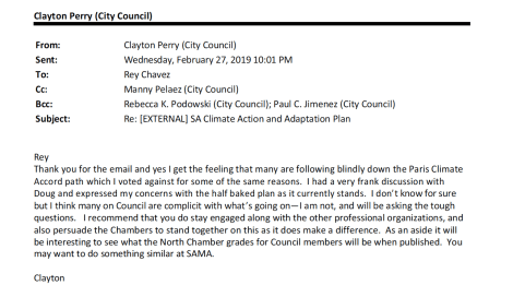San Antonio Councilmember Clayton Perry email to Rey Chavez.
