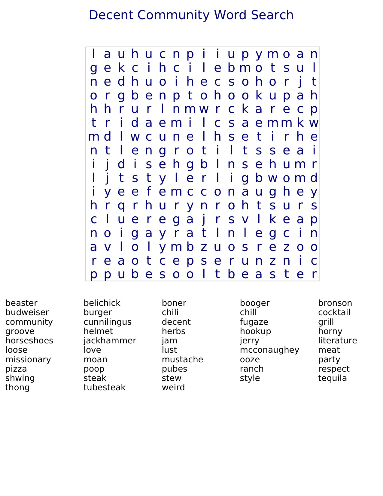 Decent Community Word Search
