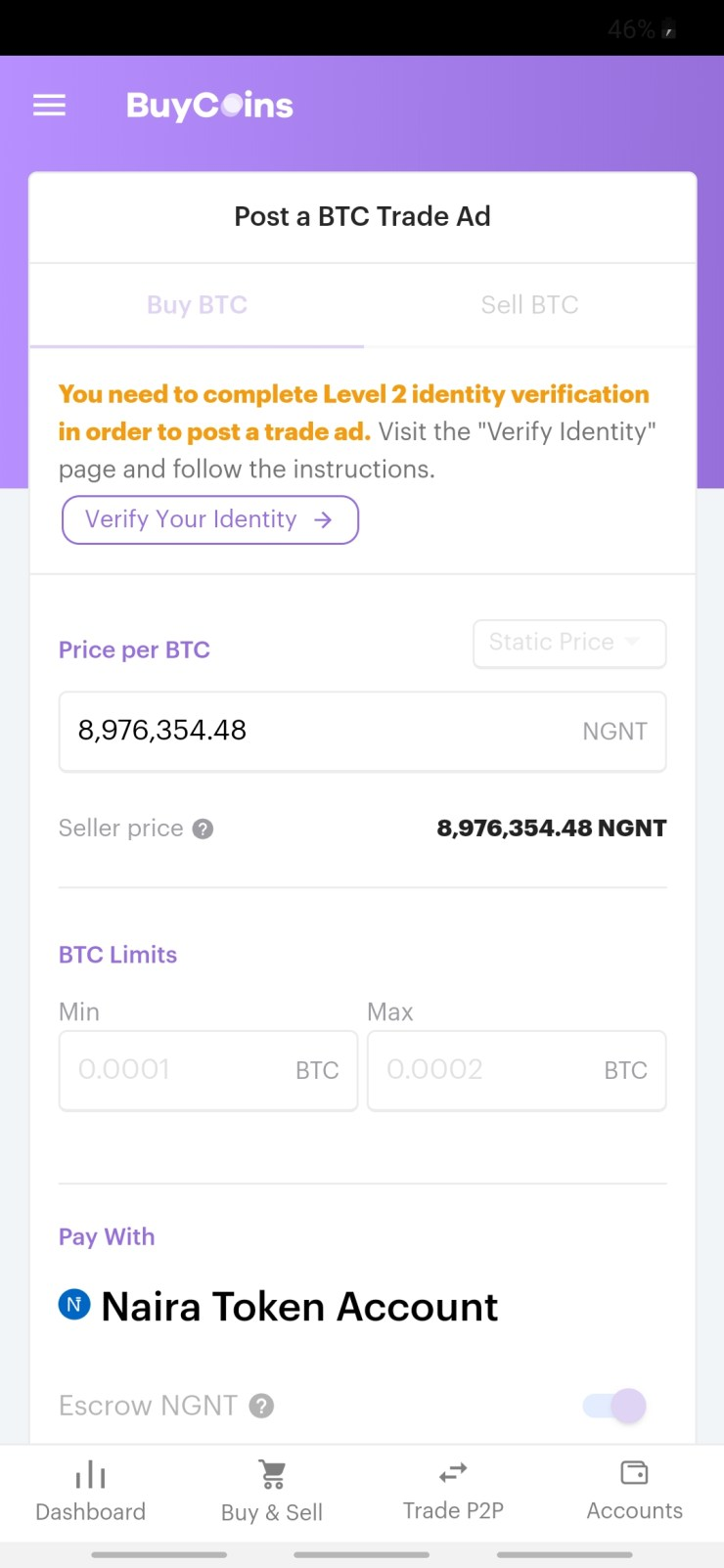 BuyCoins trade ads