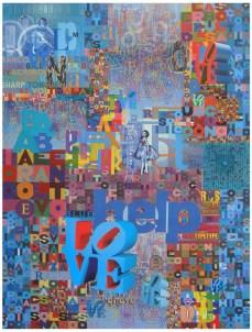 """Robert Swedroe, Love Letters Blue (2008), Mixed Media on Board, 24"""" x 32"""""""