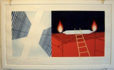 """James Rosenquist, Other Great Cities (1978), etching, aquatint and screenprint with pochoir in colors and graphite additions on Pescia Italia, 23"""" x 40"""""""