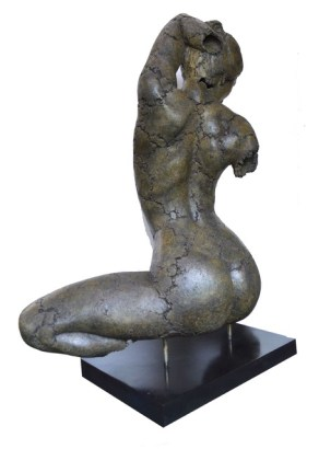 "Philippe Morel ""Julie Accroupie"" ( Crouching) Bronze, France 40"" x 33.5"" Ed: 1/8 (Price upon request ) ""The nude is not the subject of art, but a form of part"" – Kenneth Clark"