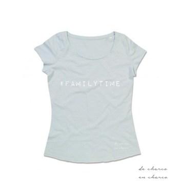 camiseta mujer familytime azul www.decharcoencharco.com