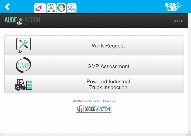 Audit4Action selection screenshot