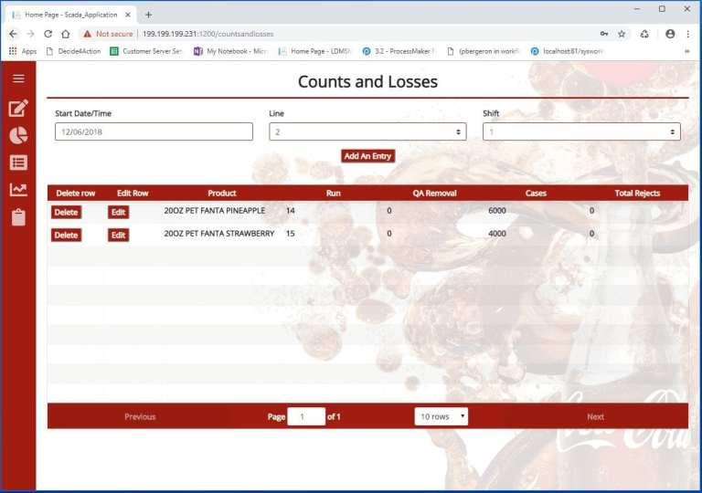 Counts and losses screenshot