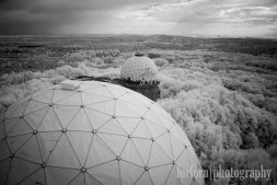 An infrared shot of the radomes and the forest. Camera: Canon Rebel XT converted to Infrared