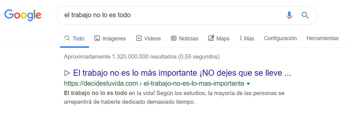 """Resultado búsqueda Google para """"El trabajo no lo es todo"""""""
