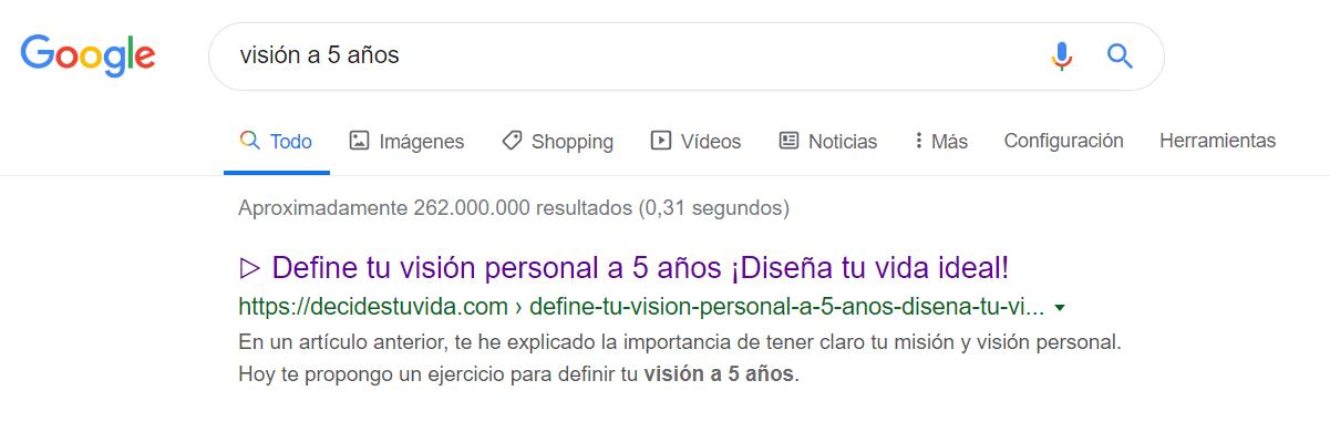 """Resultado búsqueda Google para """"Visión a 5 años"""""""