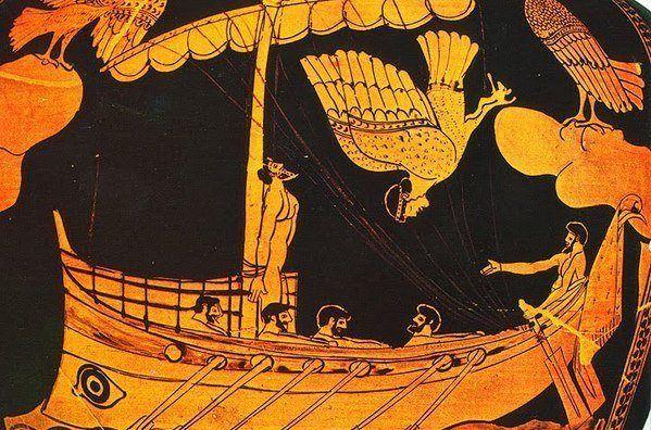 Ulises poniendo a prueba su fuerza de voluntad con las sirenas