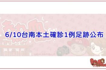 6/10台南本土確診1例足跡公布,相關場所台南市政府已消毒完畢!