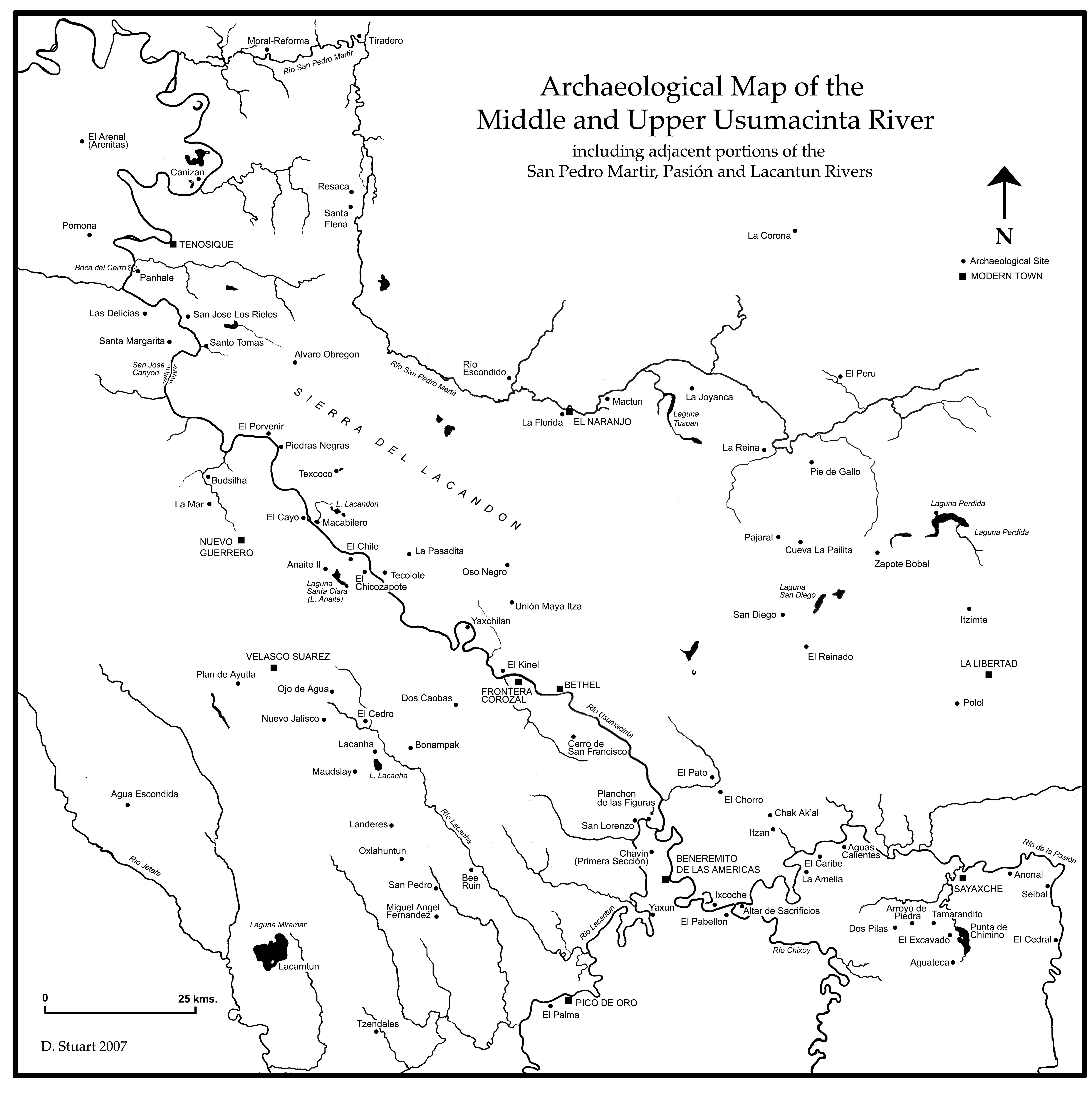 Archaeological Map Of The Rio Usumacinta Region Maya