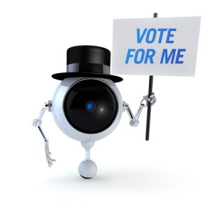 robot canvassing for votes