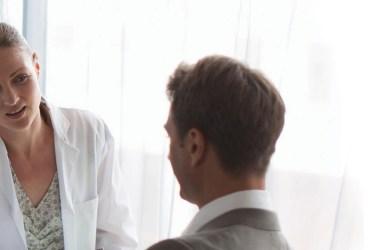 People talking in a dental practice
