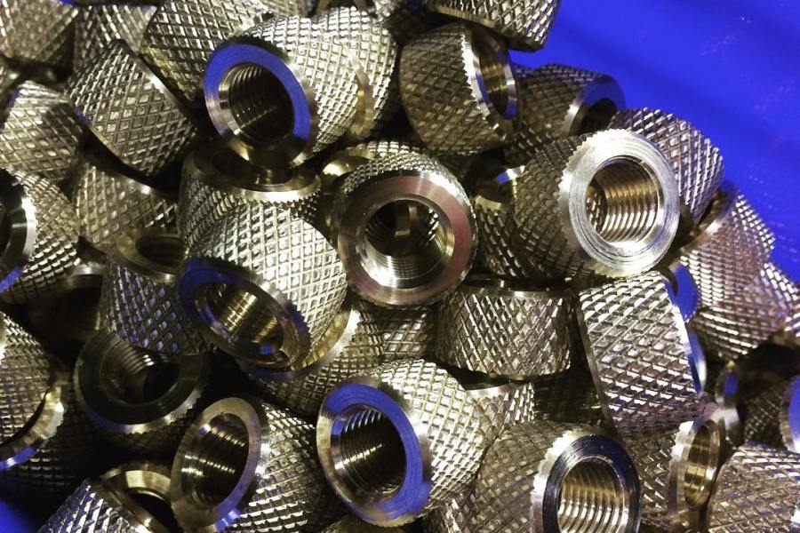 Machined Part: Knurled 360 Brass Jam Nuts