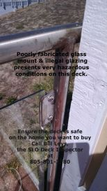 Handmade railings and poorly secured non safety glass present acute safety issues on this deck.