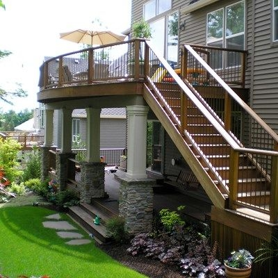 Second Story Deck Ideas Designs Pictures Decks Com | Exterior Stairs To Second Floor | Commercial Exterior | Design | Two Story | Covered | Patio