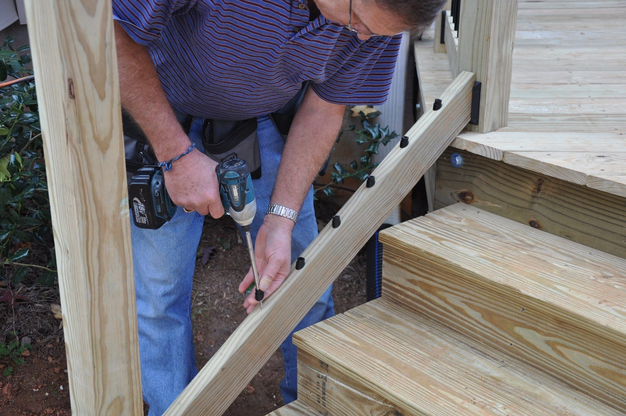 How To Install Deck Stair Railings Decks Com | Diy Deck Stair Railing | Easy | Outdoor | Aircraft Cable | House | Simple