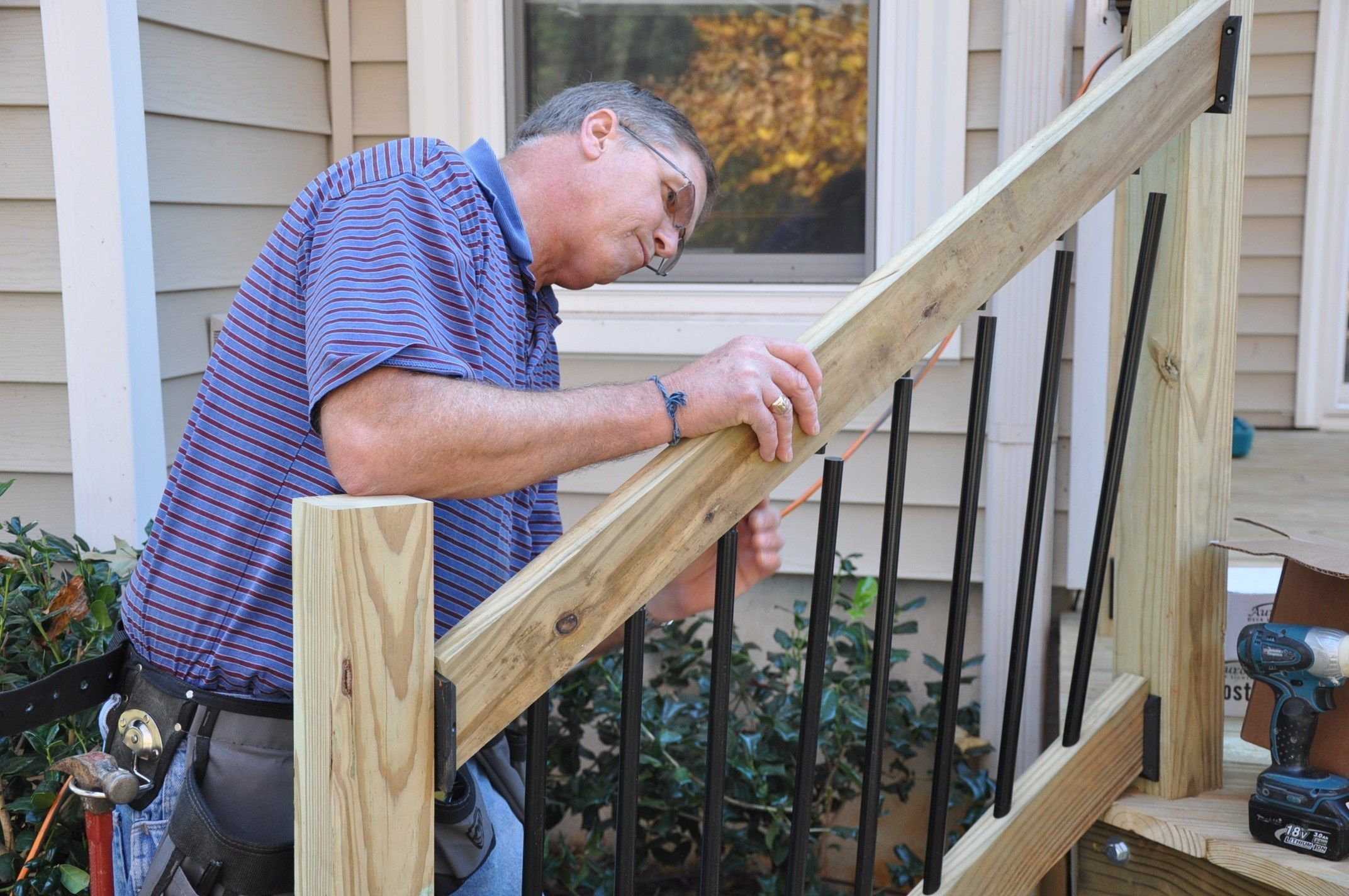 How To Install Deck Stair Railings Decks Com | Handrails For Outside Steps | Single Step | Rustic | Aluminum | Front Porch | Walkway