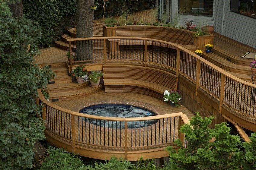Building A Round Or Curved Deck Decks Com | Building Half Round Wood Steps | Curved | Precast Concrete Steps | Outdoor | Concrete Slab | Risers