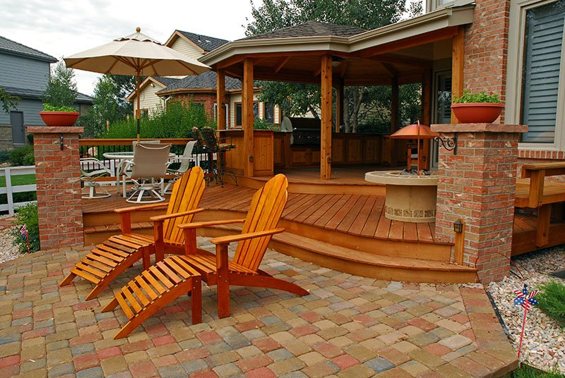 Deck & Patio Combinations - DeckTec Outdoor Designs on Deck And Paver Patio Ideas id=76598