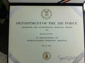 Certificate for Cristofv award