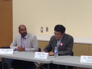 NDP candidate Akil Sadikali and Liberal candidate Geng Tan at the Don Valley North candidates debate.