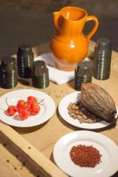 Ajiote, mazorca y semillas de cacao