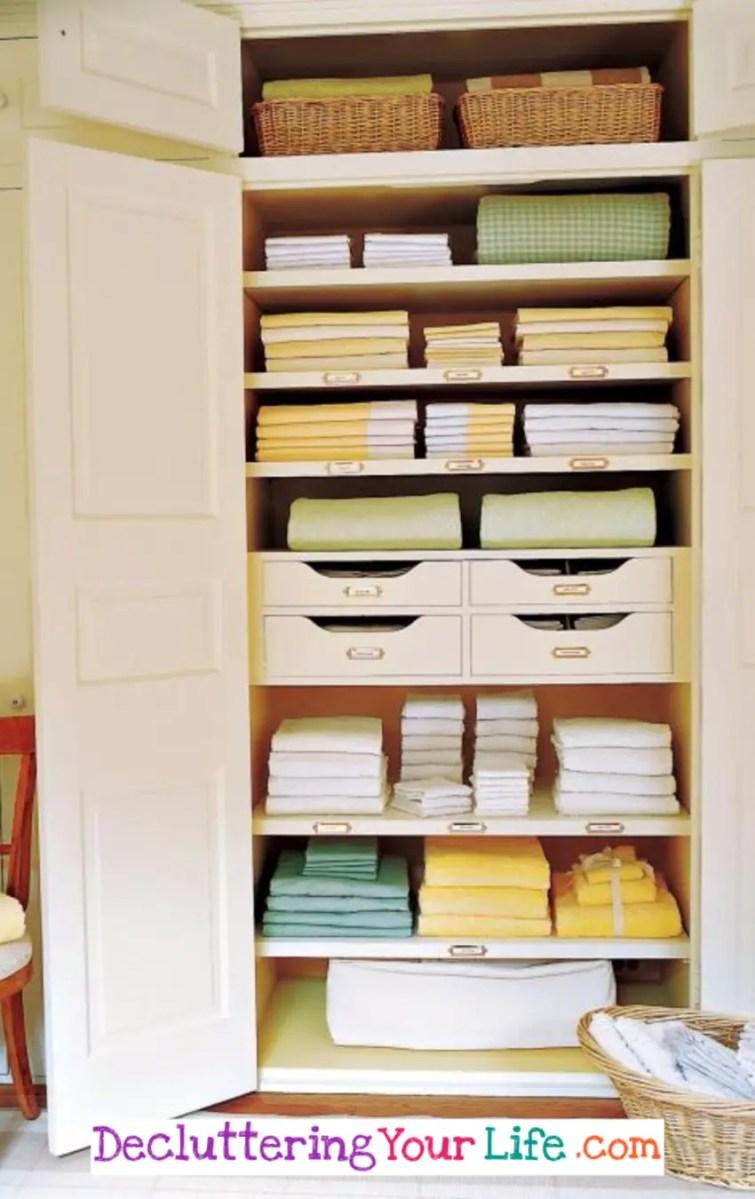 How to organize linen closets - delcutter your linen closet DIY ideas