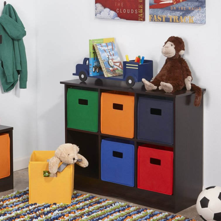 We LOVE this toy organization toy box set up.  The colorful bins make it look great and it sure cuts down on toy clutter!