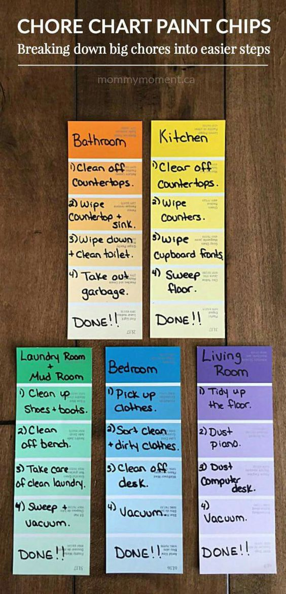 DIY chore charts for kids - Clever use of paint samples to make a chore chart or chore ladder list for kids.
