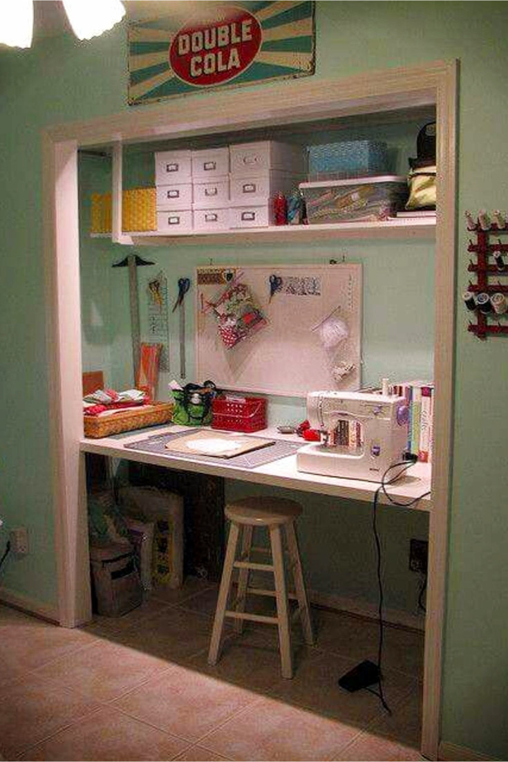 Craft Room organization ideas - love this idea to take the doors off the closet to make a craft desk area!  Smart use of space in a small room!