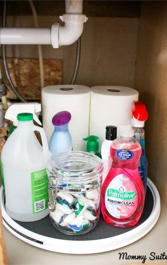 Genius and SIMPLE way to declutter and organize under the kitchen sink