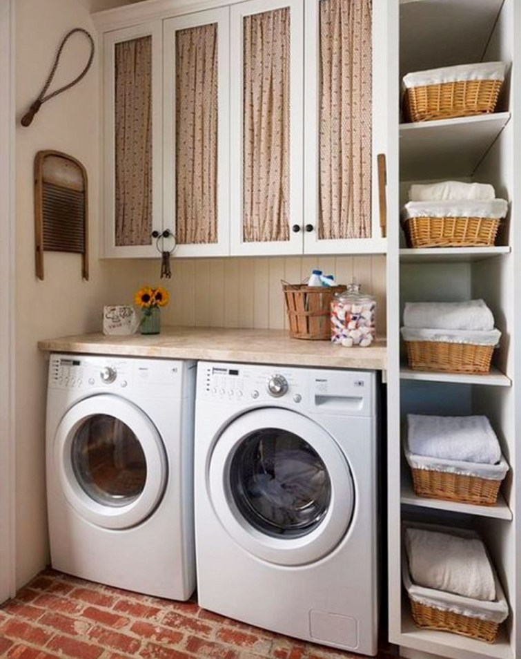 Beautiful and ORGANIZED small laundry room - I want!