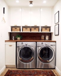 Making the most of a small laundry room - great ideas for organizing!