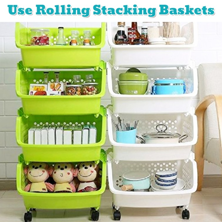 Cheap rolling baskets for more space and more organization - Getting Organized - 50+ Easy DIY organization Ideas To Help Get Organized