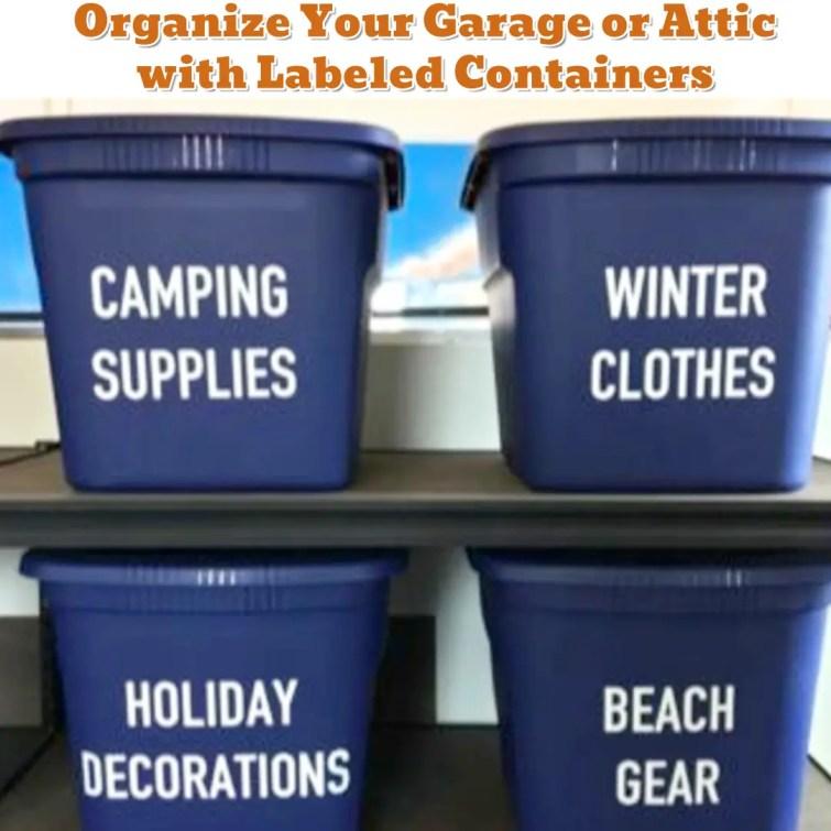 Garage or Attic DIY Organization Ideas - Getting Organized - 50+ Easy DIY organization Ideas To Help Get Organized
