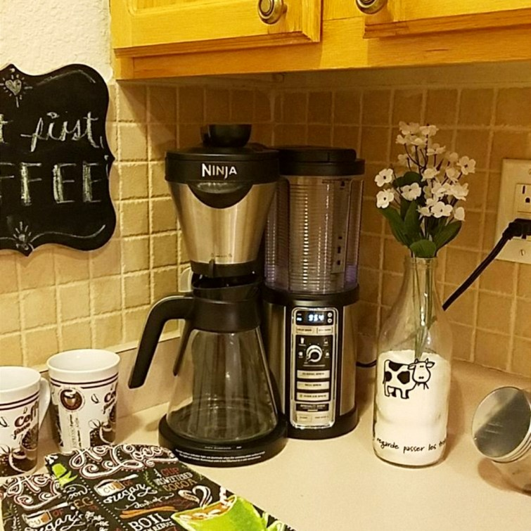 Small coffee area / coffee bar idea - fits perfect on the counter in my small kitchen