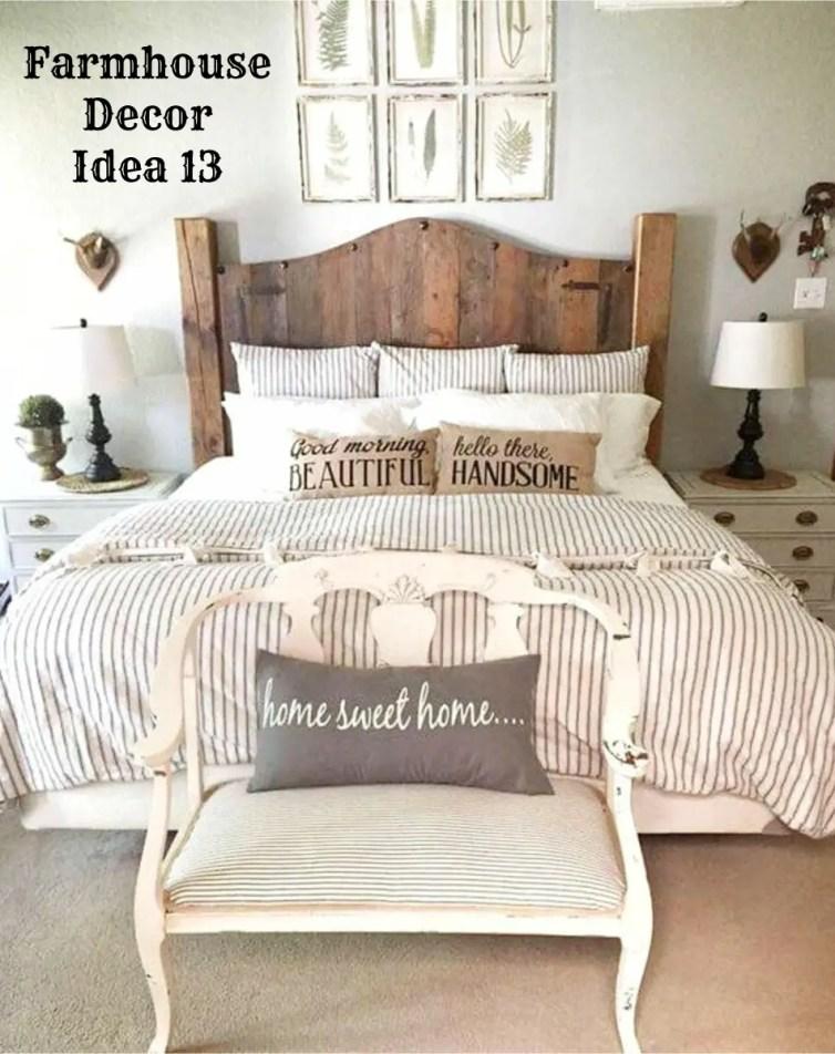 Rustic farmhouse bedroom decorating idea - Clutter-free Farmhouse Decor Ideas