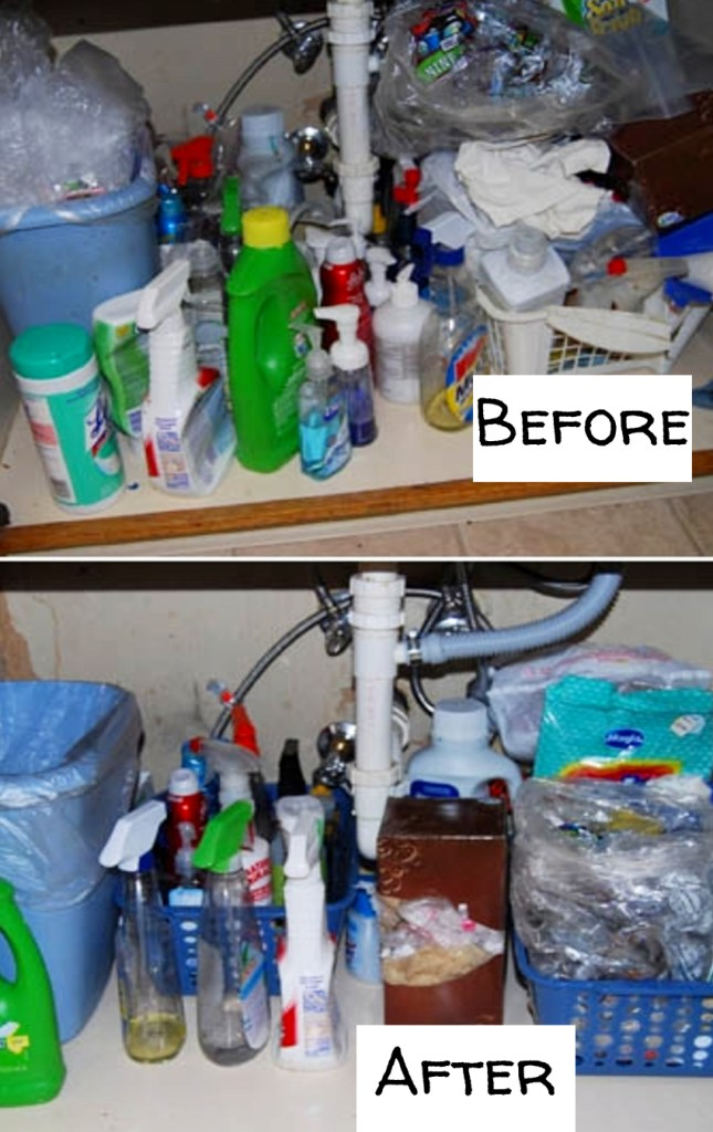 Organize under the kitchen sink - before and after pictures and under sink organizing ideas