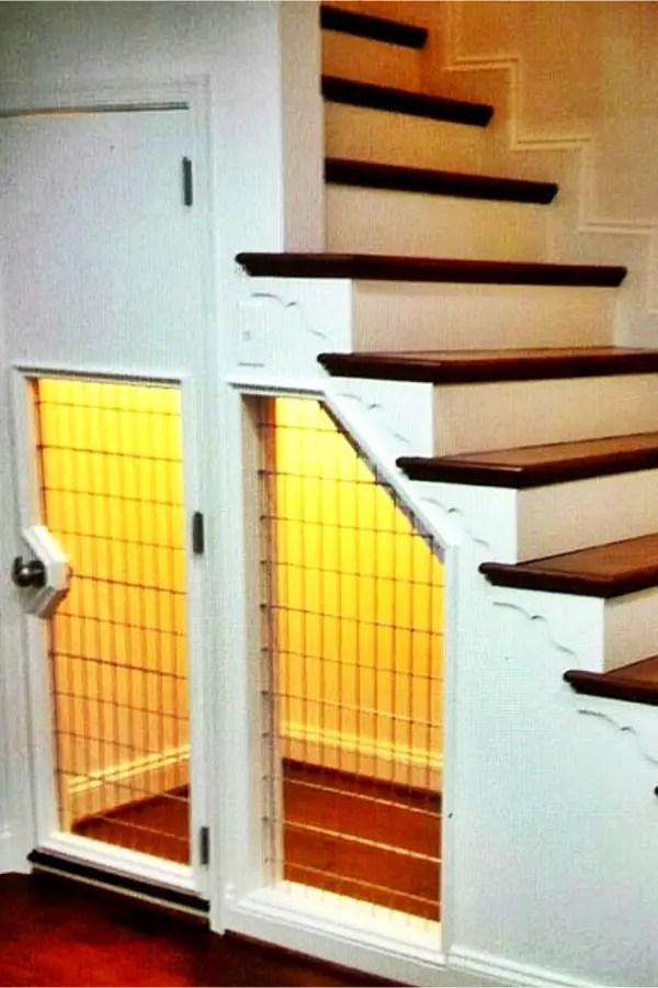 Under Stair Storage Ideas   Dog Crate Under Stairs