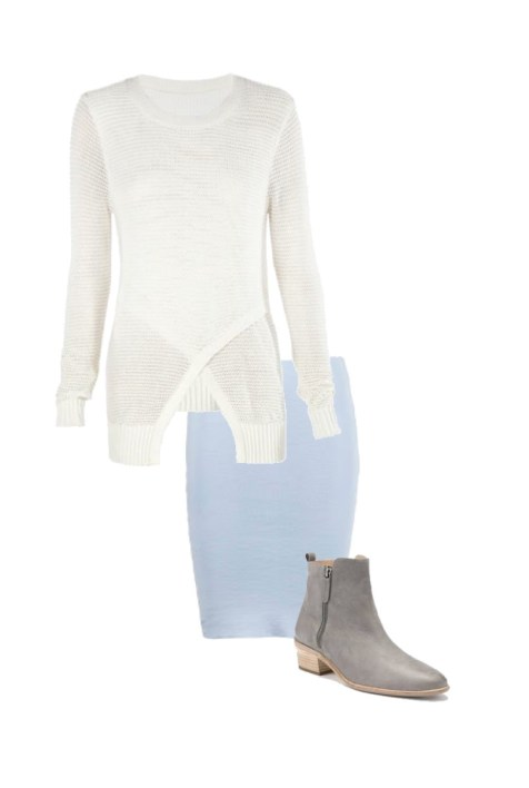 Asymmetric sweater: Skin and Threads; Ankle boots: Country Road