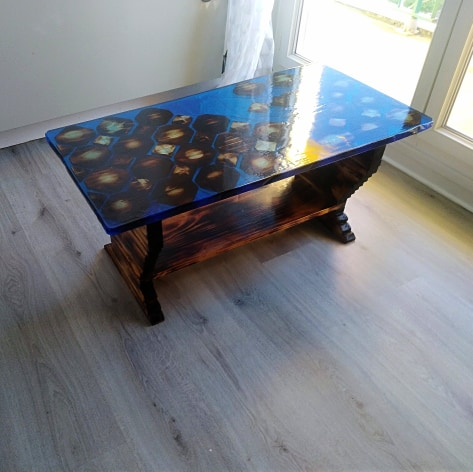 table basse resine epoxy bois brule 2021