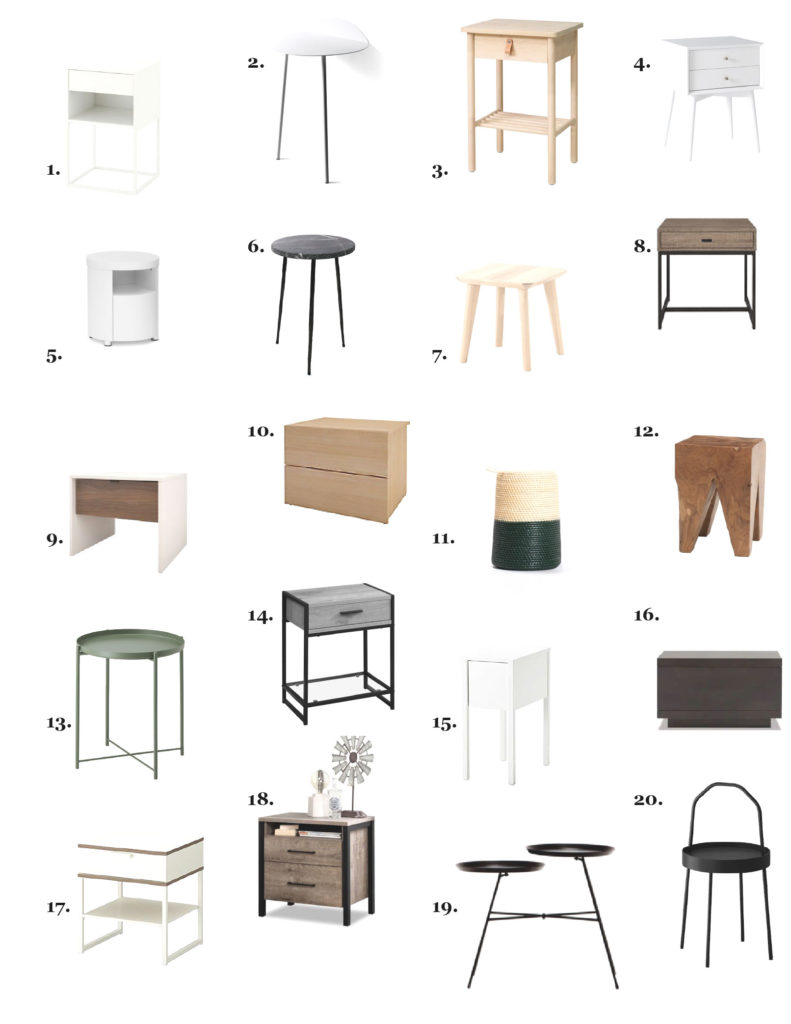 top 20 tables de chevet minimales de