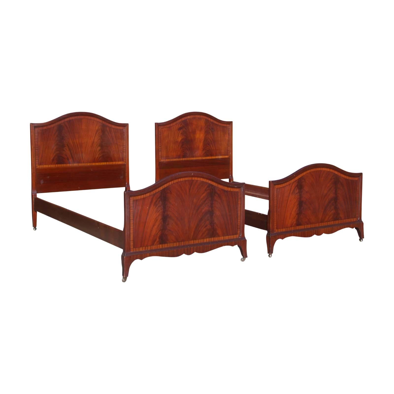 antique pair art deco flame mahogany